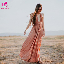 Buy BellFlower Women Dress Summer Sleeveless Deep V Neck Sexy Dress Bohemian Long Party Dress Hanging Neck Loose Beach Dress for $33.73 in AliExpress store