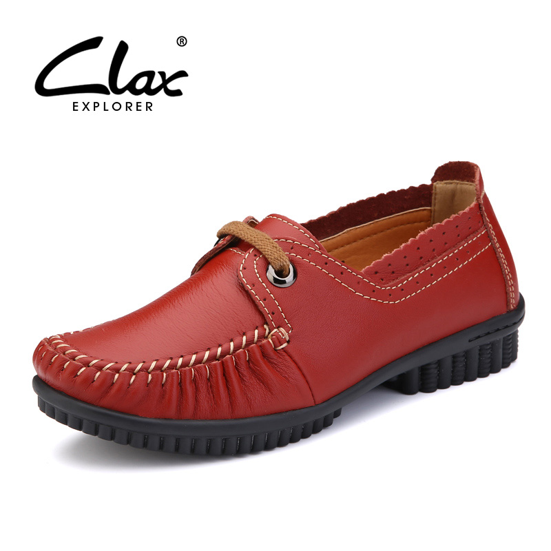CLAX Women Leather Shoes Genuine Leather 2017 Summer Autumn Footwear Lady Red Black Mother Walking Shoes Casual Shoe Leisure<br>