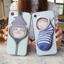 Luxury Shockproof Silicone Mobile Phone Case For iPhone7 7plus 6 6plus Cute Sleep Cats Zipper Socks Protective Shell For iPhone6