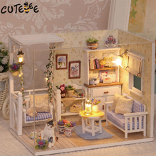 Doll House Furniture Diy Miniature Dust Cover 3D Wooden Miniaturas Dollhouse Toys for Children Birthday Gifts Kitten Diary(China)