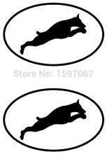 2 Doberman Dog Breed Oval Running Vinyl Decal For Car Window Door Laptop Kayak Art Sticker 8 Colors(China)