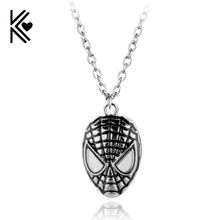 1 pc Ship Superhero DC Comics Red Spider-man The Amazing Spiderman Mask Pendant Necklace Fashion Jewelry for Men Wholesale Cheap