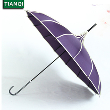 Fashion 16 Ribs Princess purple Umbrella Rain Women Pagoda Umbrella Long-handle Umbrella Windproof Red Tower Parasol black #1404(China)