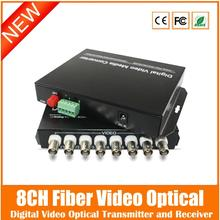 2016 8ch Fiber Video Converter+1ch Reverse Rs485 Data Digital Optical Transmitter And Receiver For Cctv Surveillance System