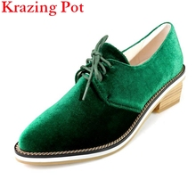 2017 Fashion Big Size Brand Spring Shoes Green Velvet Thick Heel Women Pumps Pointed Toe Causal Preppy Style Lace Up Shoe L66