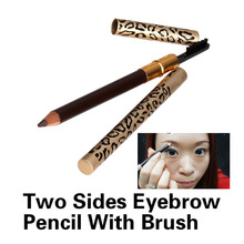 New Eyebrow Pencil Two Sides With Brush Leopard Design Metal Casing Fashion Makeup Cosemtics Tool