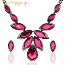 DAZZLING YANG'S Brand Fashion Women Accessories Jewelry Acrylic Crystal Water Drop Necklace Earring Wedding Bridal Jewerly Sets