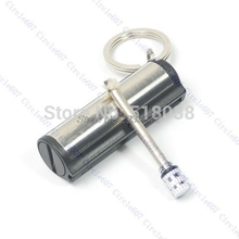 Fashion Permanent Match Silver Metal Key Chain Striker Lighter -W128(China)
