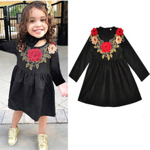 2017 Rushed Top Fashion Full Floral Embroidery Flower Girl Dresses Girls Dress Long Sleeved Princess Clothes For Children Kids
