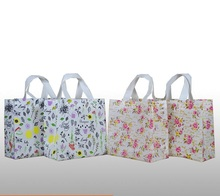 Qi Size:32*11*25cm Pink Non Woven Fabric Shopping Gift Bag With Handle Large Big Printed Flower Gift Bags White for Wedding