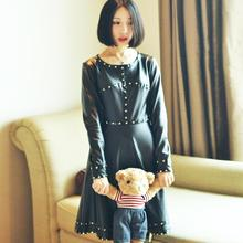 Free Shipping 2016 New Fashion Cool Vintage Rivet Stretch PU Leather One-piece Black Knee Length Dress Long Sleeve O-neck Dress