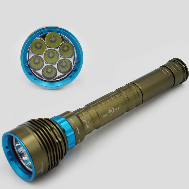 70W 3-Mode 8000 Lumen 7x XM-L2 LED Diving Flashlight Torch 200M Underwater Waterproof LED Flash Light Lantern<br>
