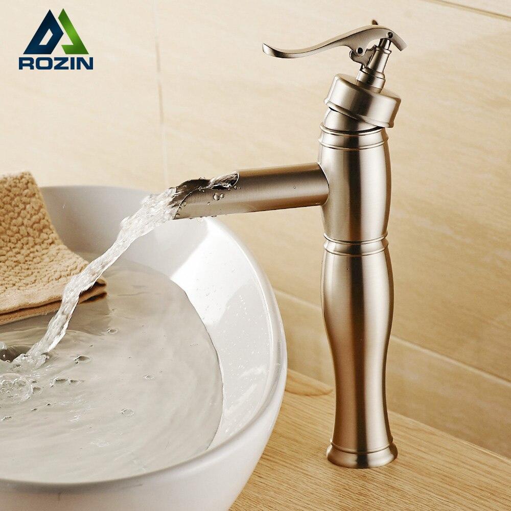 Brushed nickel bathroom faucet