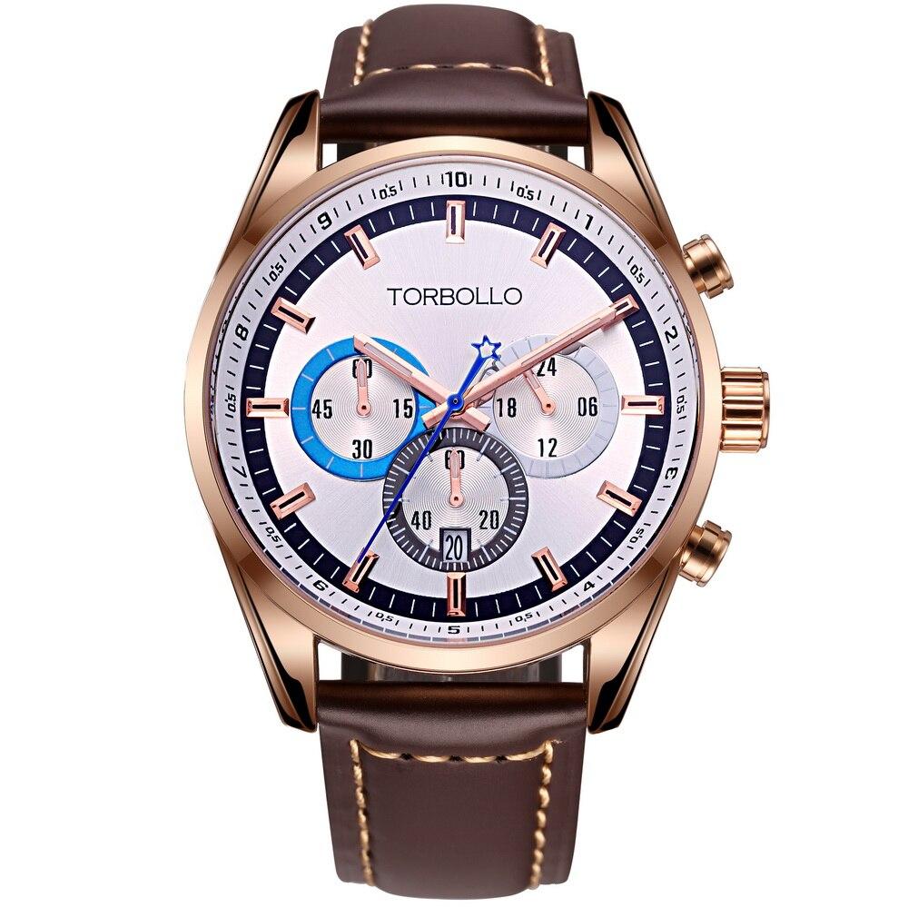 High Quality Original Brand Leather Mens Quartz Watch Men White Chronograph Saat Water Resistant<br>