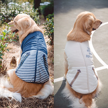 Buy Strip Winter Warm Fleece Big Large Dog Hoodie Vest Clothing Golden Retriever Pitbull Dog Cotton Padded Jacket Coat Clothes for $14.84 in AliExpress store