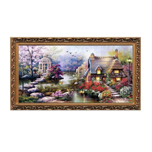 Cross Stitch DIY Handmade Needlework Set Embroidery Kit Precise Printed Graden Cottage Pattern64 x 37cm Home Decoration