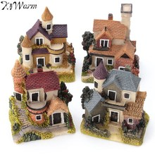 1Pcs Mini Resin House Miniature House Fairy Garden Micro Landscape Home Garden Decoration Resin Crafts 4 styles Color Random