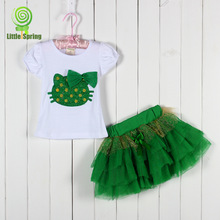 EMS/DHL Free Shipping NEW2015New Arrival!Girl Summer Cartoon Hello Kitty  Sets T-Shirt+TuTu Skirt Baby Wear