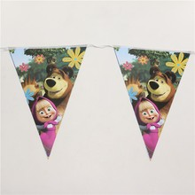 10pc/Line Masha Bear Paper Flags Kids Happy Birthday Party Theme Paper Banners Bunting Boy Girl Favors Baby Shower