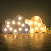 11 LED Lovely White/Blue Cloud Night Light Warm White Table Lamp Marquee Battery Operated Nice Gifts Children Room Decorations(China)
