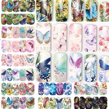 12 sheets water decal nail art nail sticker slider tattoo full Cover COLORFUL BUTTERFLIES Decals manicure supplies A1297-1308(China)