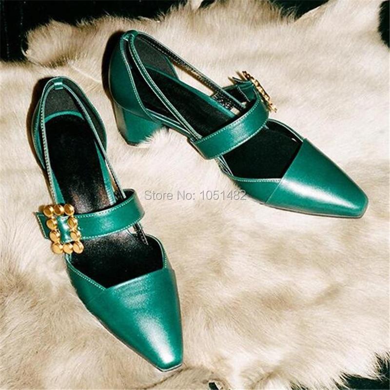Fashion Green Women Pumps Prom Wedding Dress Shoes Woman Metal Decor Square Toe Zapatos Mujer High Heels Stiletto Valentine Shoe<br><br>Aliexpress