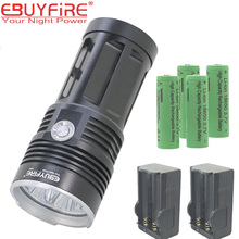 Sky KING 10T6 18650 LED Flashlight  XM-L T6 Torch Lamp 3-Mode Led LightS With Battery Charger