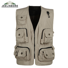 2017 New Fashion Vests For Men Wholesale Men's Multi-pocket Photography Vest Men Casual Reporter Director Military