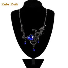 2017 Personality Vintage Necklace Jewelry Women Crystal Heart Necklace Dragon Necklaces(China)