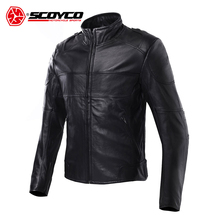 SCOYCO Men's Waterproof Motorcycle Jacket Moto Motorbike Racing Jackets Genuine Leather Cowhide Motorcycle Clothing(China)