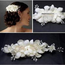 New Fauxl Pearl Fabric Flower Hair Comb Tiara for Bridal Wedding Bridesmaid Prom Hair Clip Headwear Accessories