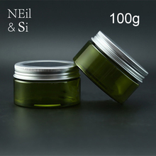 100g Green Plastic Lotion Jar Refillable Cosmetic Cream Container Empty Bath Salts Packaging Bottles Light Avoid(China)