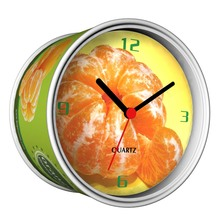 Only 6-10 Days Arrive To USA By E-Packet Air Shipping 2pcs/lot Orange Juice Design Clock Fruit Design Fridge Magnetic Tin Clock