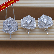 Fashion Shinning Flower Design With Cz Diamonds S925 Silver Beautiful Flower Earrings Components & Pendant Findings 2 Pcs Sets