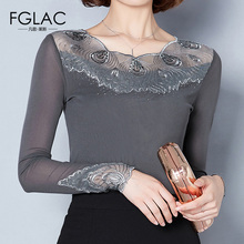 Buy FGLAC Women clothing New Arrivals 2017 Autumn long sleeved Mesh tops Elegant Slim Diamonds Women blouse Plus size blusas shirt for $13.33 in AliExpress store