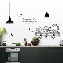 Free Shipping florence life removable wall stickers kitchen restaurant tea cup cupboard decorative decals wall murals(China)