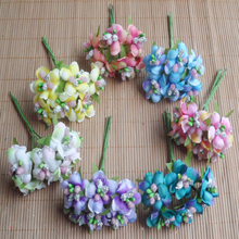6pcs/lot Mini Silk Artificial plum blossom Bouquet Wedding Decoration Paper Flower For DIY Scrapbooking Flower Ball Cheap Flores(China)