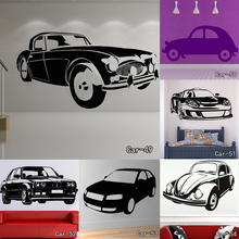 DSU High Quality Modern Home Decor Luxurious Old Car Wall Sticker VinylAdhesive Transport Race Car Decal For Sofa Background(China)