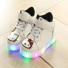 2017 New brand wing high quality LED lighted girls boys sneakers fashion high quality kids baby boots Hook glowing baby shoes(China)