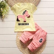 BibiCola 2018 estate neonati maschi vestiti set bambino ragazzo del fumetto  cavallo tops + stripe pantaloni c9795b8872a