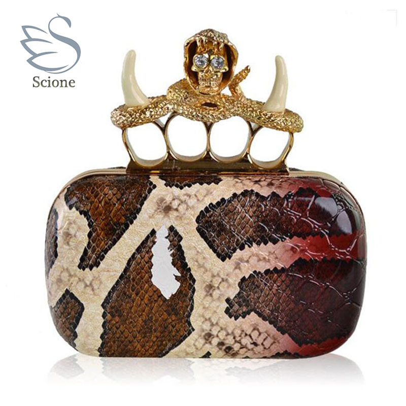 2017 designer crystal skull clutch knucklebox diamond snakeskin serpentine pattern evening bags women handbag purses bag 860t<br>