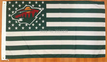 Minnesota Wild with stripes and stars Flag 3x5FT NHL banner 100D 150X90CM Polyester brass grommets custom66, Free Shipping(China)