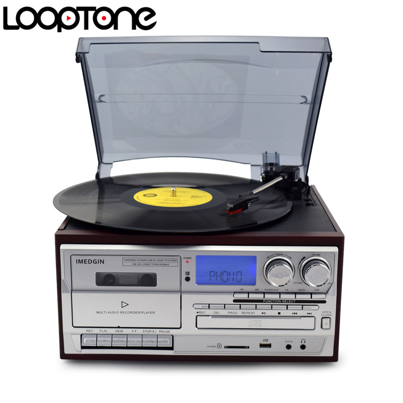 LoopTone 3 Speed Vinyl Record Player Turntable W/ CD&Cassette Player AM/FM Radio USB/SD Recorder Aux-in RCA Line-out
