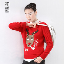 Toyouth Ladies Jumpers Womens Vintage Deer Appliques Sweaters Female Crewneck Knitwear Winter Christmas Sweaters As Gift