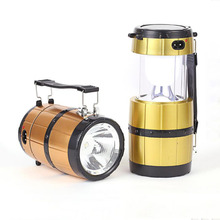 New Solar Power Camping Lights 6 leds High Bright Portable Vintage Lantern Outdoor Hanging Camping Tent Light Energy Saving(China)