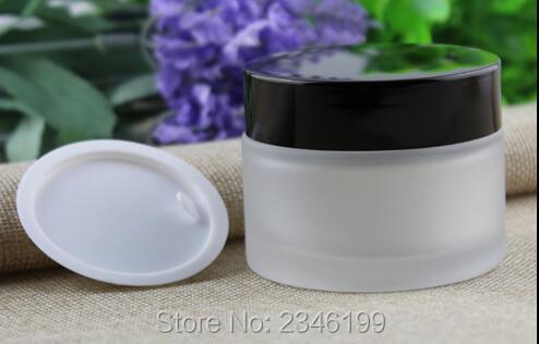 50G 50ML Frost Glass Jar, Black Plastic Cap Skin Care Cream Jar With Screw Cap And Plastic Inner Lid, 12pcs/lot<br><br>Aliexpress
