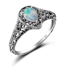 Wholesale Retail Elegant Water Drop White Fire Opal Rings Claw Inlay Pure 925 Sterling Silver Vintage Engagement Promise Rings