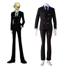 Japanese Anime One Piece Cosplay 2 Years After Ver. Black Leg Sanji Cosplay Business Suit Halloween Costume for men plus size