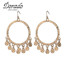 Dorado Charming Baroque Gold Big Circle Chandelier Earring Woman Vintage Coin Tassel Round Earring Brincos