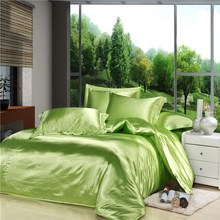 Luxury Green Chinese Silk Satin Euro Design Comforter Set 4PC Solid Color King/Queen/Full/Twin Fitted/Flat Sheet Free Shipping(China)